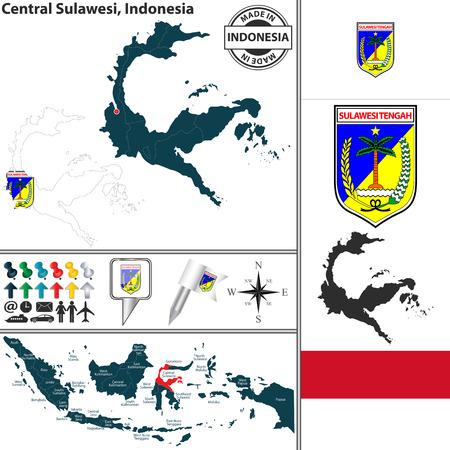 indonesisch: Vector kaart van de regio Centraal-Sulawesi met wapenschild en de locatie op de Indonesische kaart
