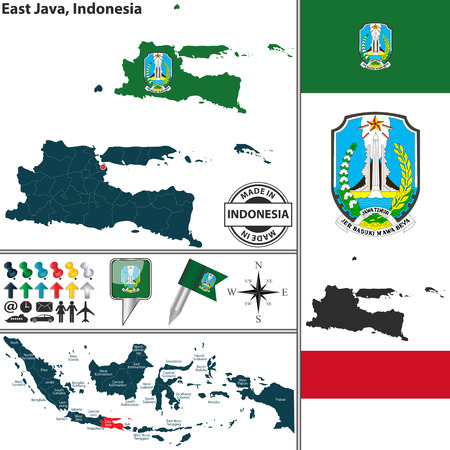 java: Vector map of region East Java with coat of arms and location on Indonesian map
