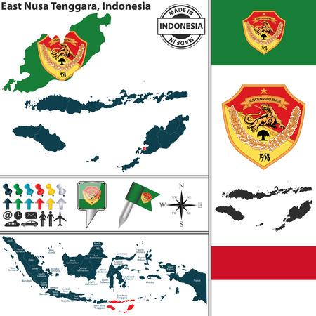 indonesisch: Vector kaart van de regio Oost-Nusa Tenggara met wapenschild en de locatie op de Indonesische kaart Stock Illustratie