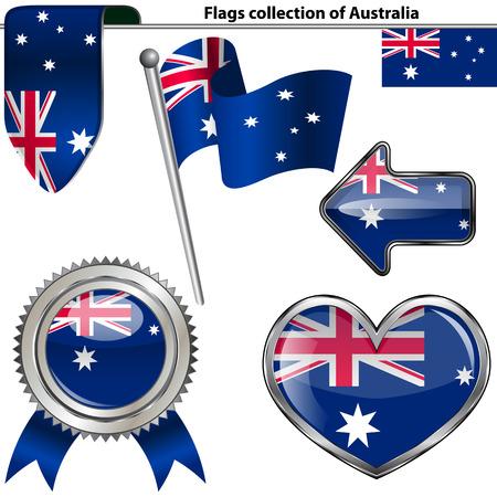 bandera blanca: Iconos brillantes de la bandera de Australia en blanco Vector