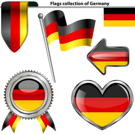 glossy icons: Vector glossy icons of flag of Germany on white
