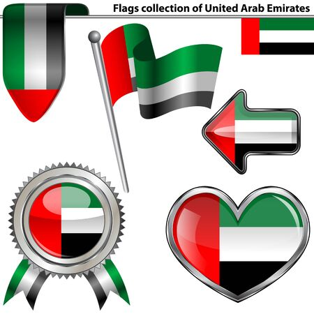 glossy icons: Vector glossy icons of flag of United Arab Emirates on white
