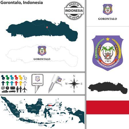 indonesisch: Vector kaart van de regio Gorontalo met wapenschild en de locatie op de Indonesische kaart
