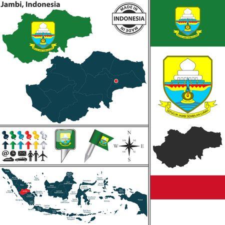 indonesisch: Vector kaart van de regio Jambi met wapenschild en de locatie op de Indonesische kaart
