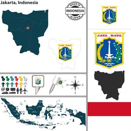 Vektorkarte der Region Jakarta mit Wappen und Lage am indonesischen Karte Standard-Bild - 39383152