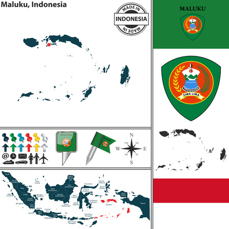 Vector map of region Maluku with coat of arms and location on Indonesian map