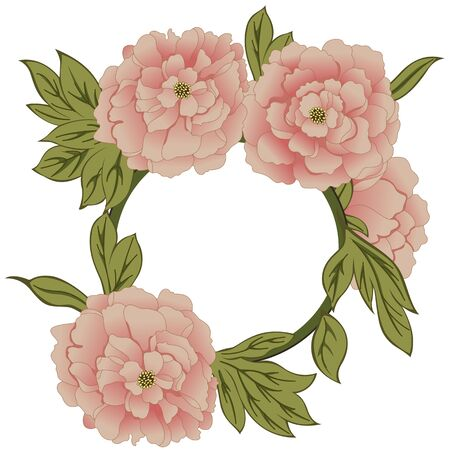 peon: Vector frame with peonies flowers on white