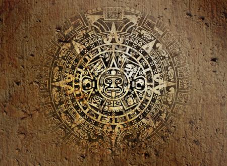 Contexte dans American Indian Style avec calendrier aztèque sur la vieille pierre