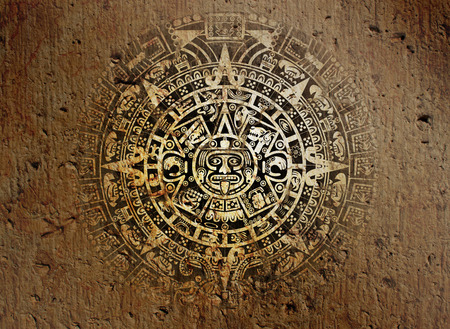 Background in American Indian Style with Aztec calendar on old stone