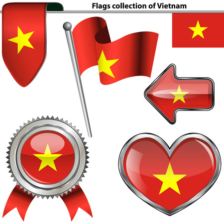 glossy icons: Vector glossy icons of flag of Vietnam on white Illustration