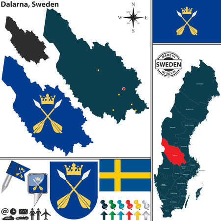 sweden map: Vector map of county Dalarna with coat of arms and location on Sweden map