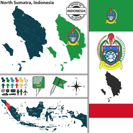 indonesian: Vector map of region North Sumatra with coat of arms and location on Indonesian map Illustration