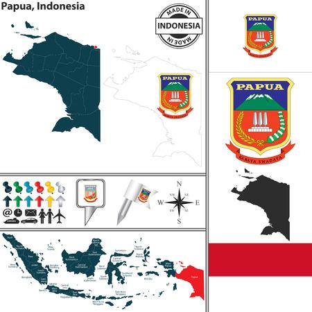 papouasie: Vecteur carte de la r�gion Papouasie avec le manteau des bras et l'emplacement sur la carte indon�sienne
