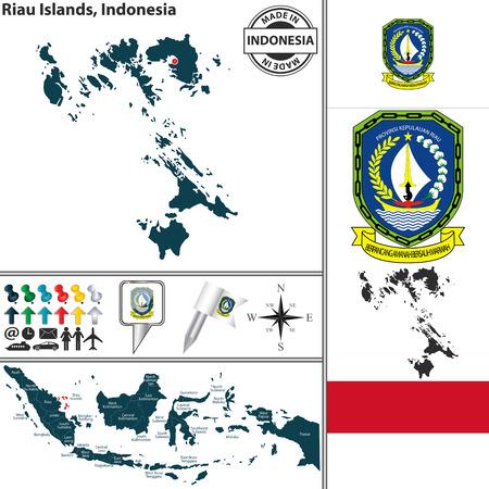 indonesisch: Vector kaart van de regio Riau met wapenschild en de ligging aan de Indonesische kaart