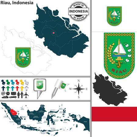 indonesisch: Vector kaart van de regio Riau met wapenschild en de locatie op de Indonesische kaart Stock Illustratie