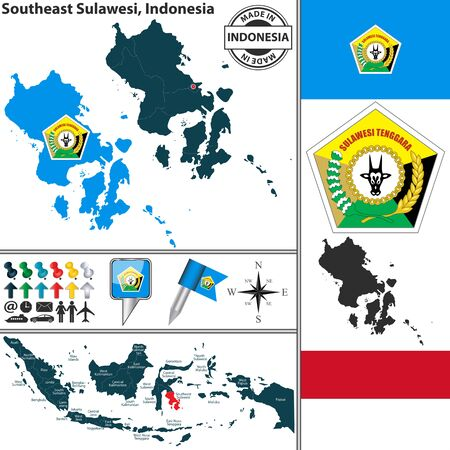 indonesian: Vector map of region Southeast Sulawesi with coat of arms and location on Indonesian map
