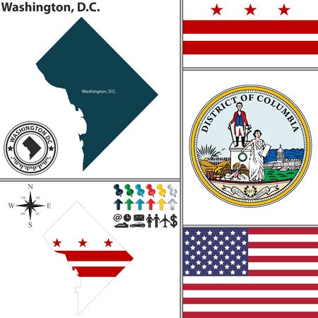 district of columbia: Vector set of Washington D.C. with flag and icons on white background Illustration