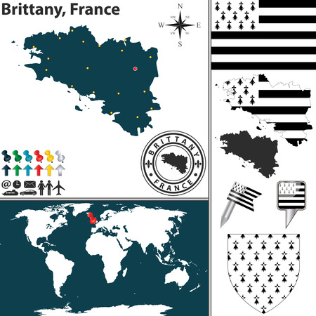 bretagne: Vector map of state Brittany with coat of arms and location on world map Illustration