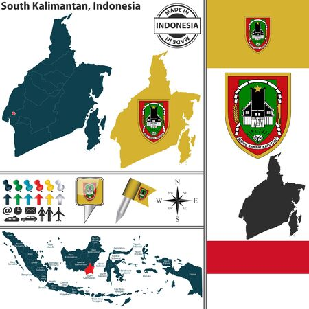 indonesian: Vector map of region South Kalimantan with coat of arms and location on Indonesian map