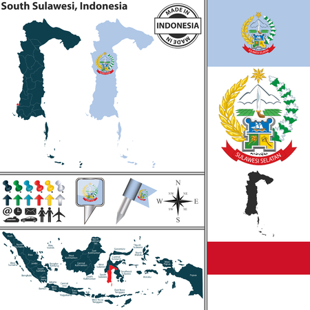 indonesian: Vector map of region South Sulawesi with coat of arms and location on Indonesian map