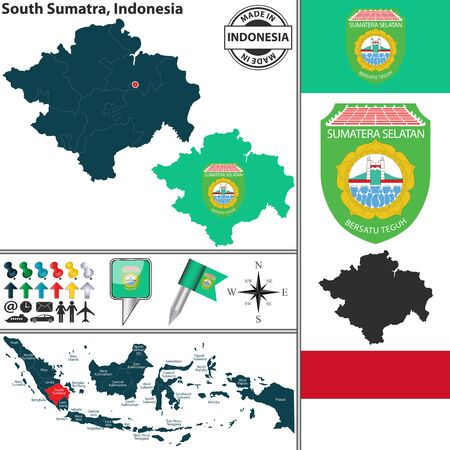 sumatra: Vector map of region South Sumatra with coat of arms and location on Indonesian map