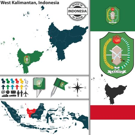 indonesian: Vector map of region West Kalimantan with coat of arms and location on Indonesian map
