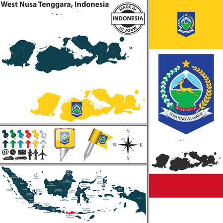 indonesisch: Vector map of region West Nusa Tenggara with coat of arms and location on Indonesian map Stock Illustratie