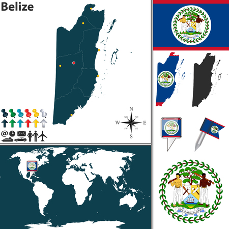 regions: Vector map of Belize with regions, coat of arms and location on world map