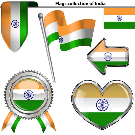 Vector glossy icons of flag of India on white Vector