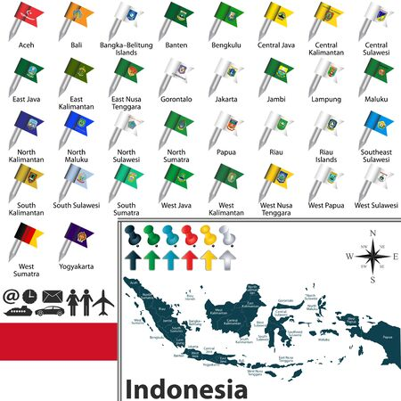 sumatra: Vector map of Indonesia with regions with flags and location on world map. Illustration