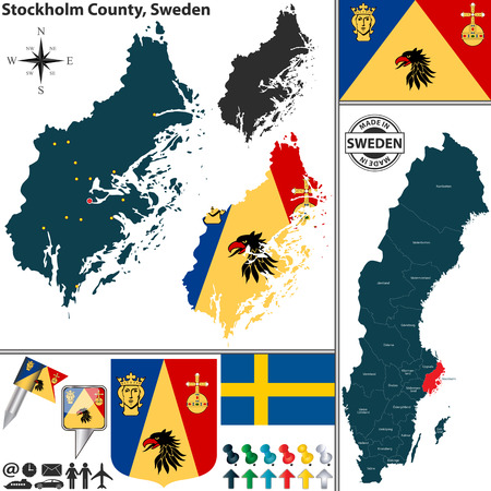 map sweden: Vector map of county Stockholm County with coat of arms and location on Sweden map