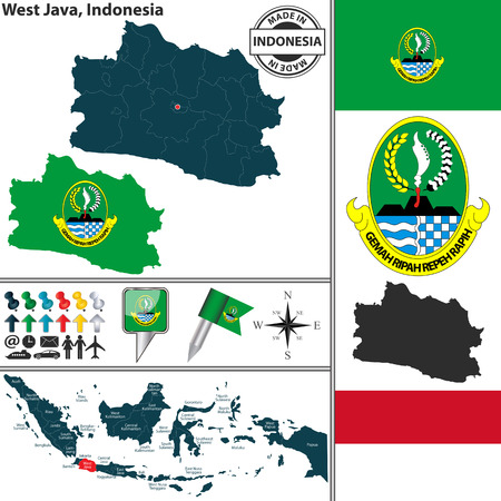 indonesian: Vector map of region West Java with coat of arms and location on Indonesian map