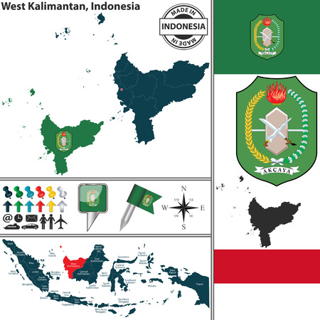 indonesisch: Vector map of region West Kalimantan with coat of arms and location on Indonesian map