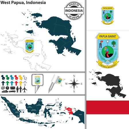 papouasie: Vecteur carte de la r�gion de la Papouasie occidentale avec le manteau des bras et l'emplacement sur la carte indon�sienne