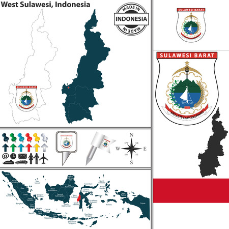 indonesian: Vector map of region West Sulawesi with coat of arms and location on Indonesian map