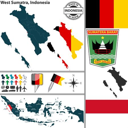 sumatra: Vector map of region West Sumatra with coat of arms and location on Indonesian map