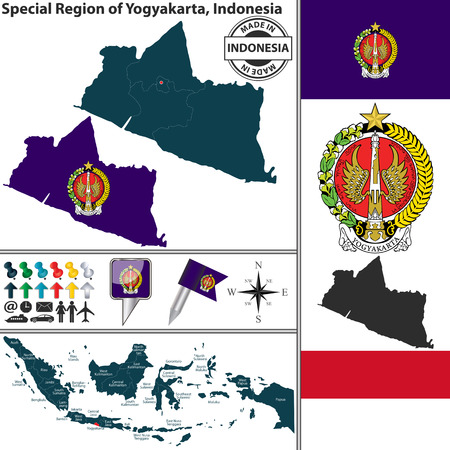indonesian: Vector map of region Special Region of Yogyakarta with coat of arms and location on Indonesian map Illustration