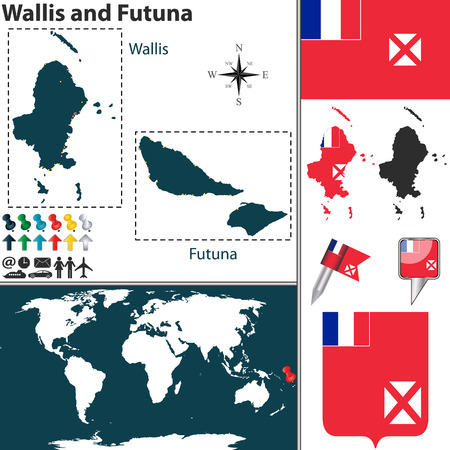 collectivity: Vector map of Wallis and Futuna with coat of arms and location on world map