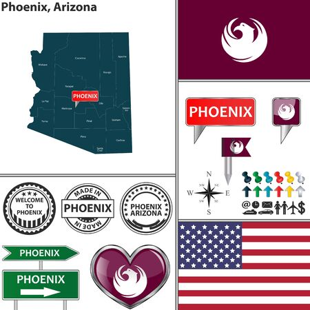 phoenix: Vector set of Phoenix Arizona in USA with flag and icons on white background Illustration