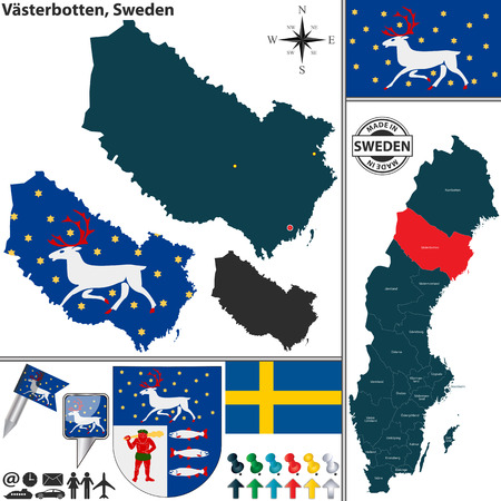 sweden map: Vector map of county Vasterbotten with coat of arms and location on Sweden map Illustration