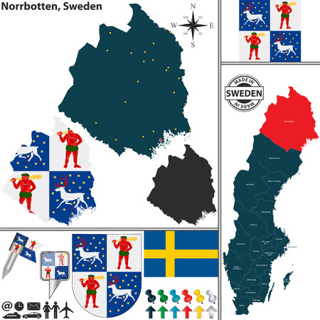 sweden map: Vector map of county Norrbotten with coat of arms and location on Sweden map
