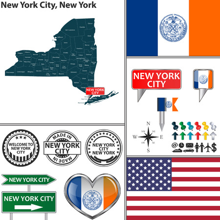 Vector set of New York City New York in USA with flag and icons on white background Illusztráció