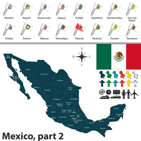 regions: Vector map of Mexico with regions with flags and location on world map.