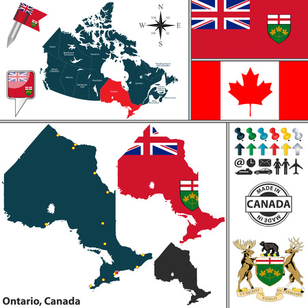 america map: Vector map of state Ontario with coat of arms and location on Canadian map