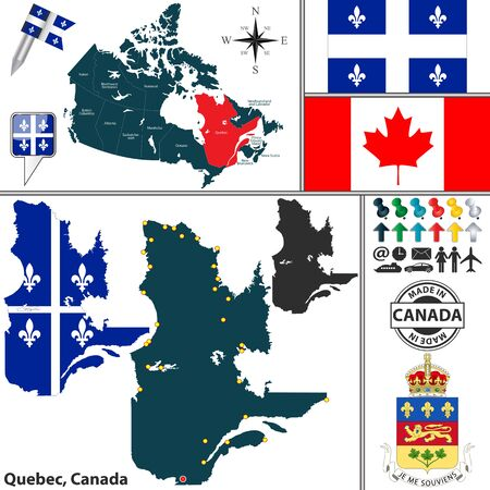 quebec: Vector map of state Quebec with coat of arms and location on Canadian map