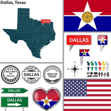 tx: Vector set of Dallas Texas in USA with flag and icons on white background