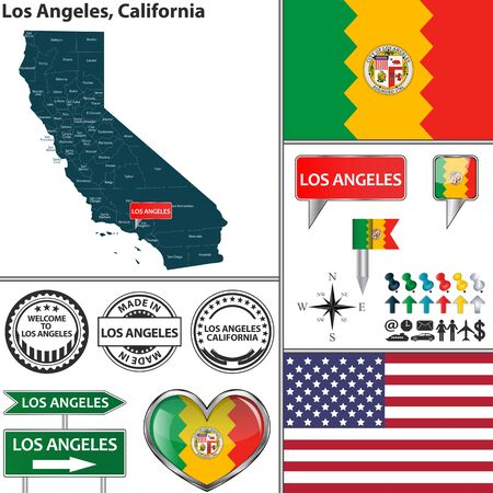Vector set of Los Angeles California in USA with flag and icons on white background Banco de Imagens - 41868585