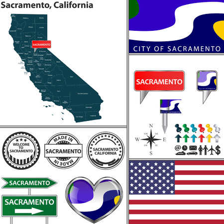 sacramento: Vector set of Sacramento California in USA with flag and icons on white background