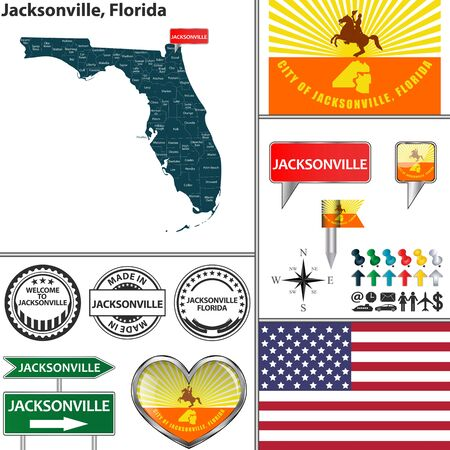 floridian: Vector set of Jacksonville Florida in USA with flag and icons on white background Illustration