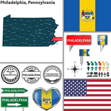 philadelphia: Vector set of Philadelphia Pennsylvania in USA with flag and icons on white background